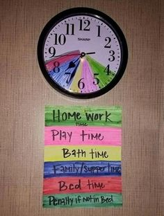 Colour their routine to teach them time management.