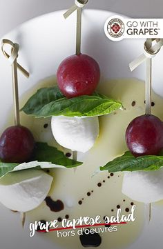 Juicy California grapes pair beautifully with the sweet, aromatic, and slightly spicy profile of basil to create a delightful combination in these Grape Caprese Salad Hors d'Oeuvres. Go with grapes for your cocktail party bites.