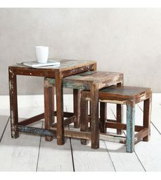 Solid reclaimed wood Nest of 3 tables Livingroom modern unique rustic furniture