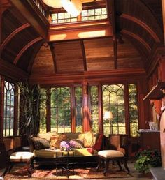 Conservatory/Sunroom – The finishes feature a large masonry fireplace, a wetbar, a stone floor, and an abundance of warm colored wood finishes.