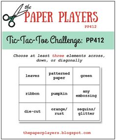 I am the hostess at the Paper Players this week, and I have a tic-tac-toe challenge for you! I think there are plen. Scrapbook Sketches, Card Sketches, Scrapbooking Layouts, Scrapbook Pages, Super Cool Stuff, Toe Designs, Paper Ribbon, Green Paper, Tic Tac Toe