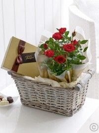 Featuring a red rose plant and a box of Maison Fougere chocolates, presented in a grey wash gift basket lined with vanilla tissue paper by Flowers. Theme Baskets, Mother's Day Gift Baskets, Wine Baskets, Gift Hampers, Chocolate Basket, Chocolate Gifts, Valentines Flowers, Valentine Gifts, Valentine Ideas