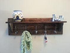 Rustic Coat Rack with shelf, handmade from individual pine planks.