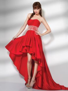 A-line Scarlet Strapless Sweetheart Ruffed Hi-low Prom Dress With Embellished Trim