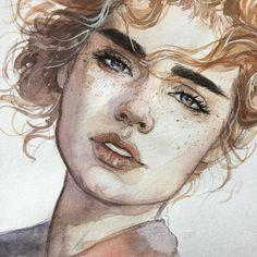 Painting ideas abstract inspiration art tutorials ideas for 2019 Watercolor Face, Watercolor Portraits, Watercolor Paintings, Tattoo Watercolor, Nature Paintings, Flower Watercolor, Abstract Portrait, Watercolor Ideas, Painting Portraits