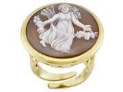 Tagliamonte Shell Cameo 18k Yellow Gold Over Silver Pthersicore Ring (TJC007)