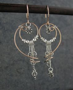 Handmade Rose Goldfill Wire Earrings, Free Form, Sterling Silver Beads, Mixed Metals Earrings