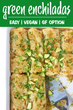 Vegan Green Enchiladas with White Beans