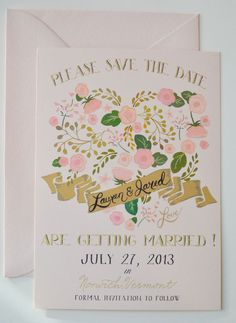 Save the Date Engagement Card set of 25 w Envelopes/Floral Heart Blush. $110.00, via Etsy.