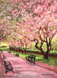 "Kim Stenberg's Painting Journal: ""Central Park Spring"" (oil on stretched canvas"