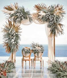 "Can you imagine saying your  "" I Do's"" in front of this gorgeous backdrop! 💐 We can't stop staring.  @konsep_sejiwa . .  #elegantweddingmagazine #elegantwedding #floristandflowers #eventflorists #elegantflorist #flowerdesigner #weddingtabledecor #eventplanner #florist #floralinstallation #foraldesign #flowerdecor #flowerdecoration #flowerdesign #floralinspiration #pampasgrass  # floralarrangements #eventflowers #luxuryweddings #weddings #destinationwedding Wedding Ceremony Arch, Wedding Table, Reception, Winter Wedding Arch, Wedding Bells, Luxury Flowers, Bali Wedding, Wedding 2015, Ceremony Decorations"