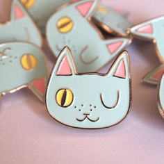 Been getting lots of messages about my winking cat pin that sold out way back in June... No fear! They will be back next month in a brand new colour. Sorry it's taken so long I'm lazy. #ilikecats by tobyilikecats