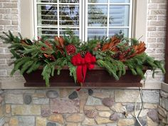 Christmas Window Boxes, Winter Window Boxes, Christmas Planters, Christmas Porch, Simple Christmas, Christmas Time, Christmas Wreaths, Window Box Flowers, Flower Boxes