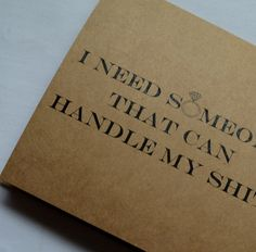 HANDLE MY shit BRIDESMAID card someone to by invitesbythisandthat