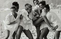 Linda Evangelista, Tatjana Patitz, Christy Turlington, Estelle Lefébure, Karen Alexander, Rachel Williams, 1990, by Peter Lindberg