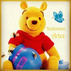 Ratimbumartes.blogspot.com.br #amigurumi #croche #disney #pooh #poohbear #bear #urso #ursopooh #honey #mel #love #artesanato