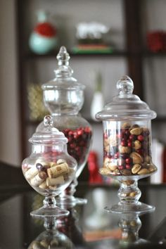 Simple Fall decorating tips on the blog today - swapping out apothecary jars with cranberries and whole nuts for Fall