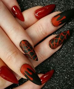 Red and Black Halloween Nail Art Designs