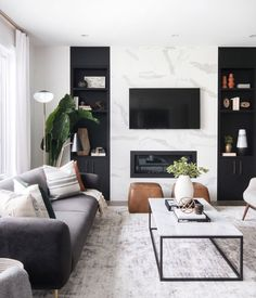 neutral modern living room with marble fireplace, black and white living room decor, Leclair Decor ( Room Design, Living Room White, Room Interior, Modern Living Room Interior, House Interior, Home Interior Design, Living Room Design Modern, Living Decor, Living Design