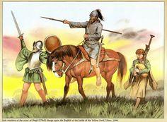 Angus McBride - Guerreros irlandeses en la batalla de Yellow Ford, 1598.