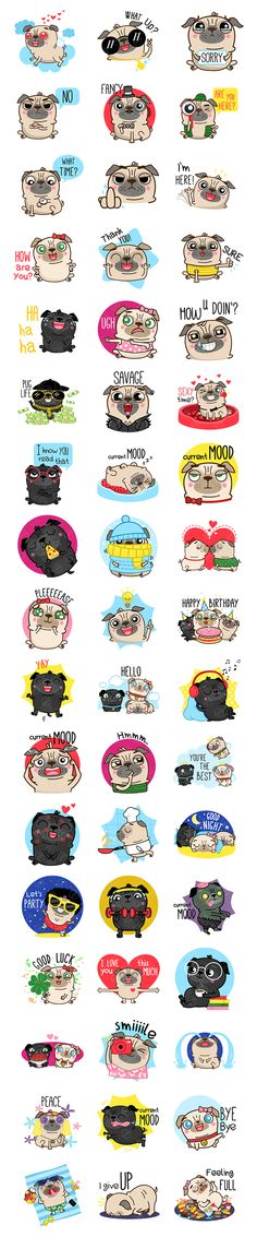 Pug Life - Emoji Stickers on Behance