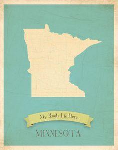 Minnesota  Roots Map.