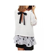 Casual Women Ruffles Bow Yarn Patchwork Half Sleeve Chiffon Blouse ($12) ❤ liked on Polyvore featuring tops, blouses, white, white chiffon blouse, bow blouse, bow top, chiffon top and white bow blouse