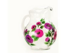 Hand-Painted Beverage Serving Pitcher - Purple Pink Poppies -  Iced Tea Juice Pitcher by HandPaintedPetals on Etsy #Hand-Painted #Beverage Serving #Pitcher - #Purple Pink #Poppies  HandPaintedPetals  http://etsy.me/2fN4uKj @Etsy #painted #sangria #icetea