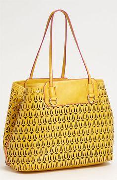 'Marina' Perforated Tote Mustard Yellow