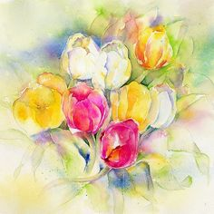 Tulips Print By Sheila Gill. Greeting Cards   Gifts   Fine ...