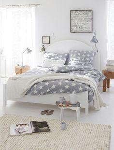 Bedroom design idea! dreamy bedroom, grey bedrooms, bedroom decor, car interiors, white, star, bed linens, guest rooms, bedroom designs