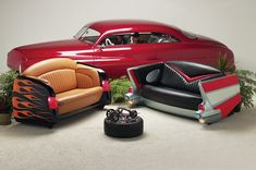 Really cool hot rod couches.