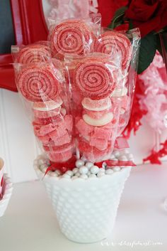Yummy Valentine's Day candy skewers!  See more party ideas at CatchMyParty.com!