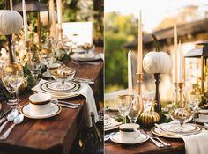 décoration de mariage d'automne en plein air en citrouilles et accents dorés