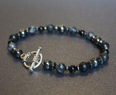 Mens Beaded Bracelets Hematite Jewelry Bracelets for by shadedlily, $48.00