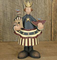 Lady Liberty holding Birdhouse Figurine - American Folk Art Collectibles & Patriotic Figurines – Williraye Studio $40.00