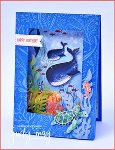 Fun Fold Cards, Cool Cards, Folded Cards, Stamping Up Cards, Rubber Stamping, Nautical Cards, Shaker Cards, Animal Cards, Kids Cards