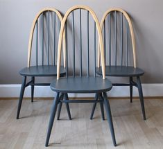 Louissa note - these but wooden seat and in navy blue . Vintage Ercol Quaker Elm and Beech Dinning Chairs Painted in Farrow & Ball Down pipe Ercol Dining Chairs, Ercol Chair, Ercol Furniture, Living Furniture, Upcycled Furniture, Painted Wooden Chairs, Painted Furniture, Furniture Design, Dining Chair Makeover