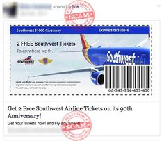 """""""Get Two Free Southwest Tickets"""" Facebook Survey Scam"""