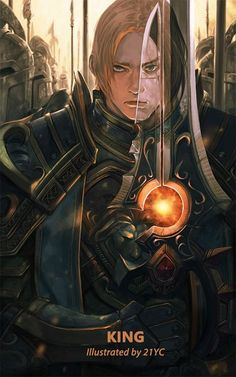 Tags: Anime, Pixiv Id 5548602, Warcraft, Varian Wrynn, Anduin Wrynn, Different Reflection, Huge Weapon, Oversized Object, Mobile Wallpaper, Pixiv, Fanart
