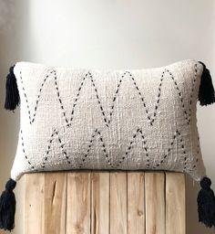 Organic cream neutral colour cushion with black stitching & tassels Australia cushions Home Decor : Natural Boho Raw Cotton Pillow.