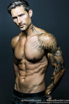 Pictured: Weston Bouchr | IG/Twitter @ westonboucher | http://westonboucher.com | Photos by: Marissa Bouchr : http://theboudoirdivas.com | Fitness Coach: George Waszczuk http://mailto:gwaszczuk@... | model, tattoos, abs, male physique