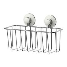 IKEA - IMMELN, Kurv til brusebad, Med sugekop, der sidder godt fast på glatte overflader.Fremstillet af forzinket stål, der er holdbart og modstandsdygtigt over for rust.