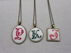 Personalized jewelry for women Embroidery initial pendant Letter necklace Embroidered necklace Initial necklace Unique gifts for women