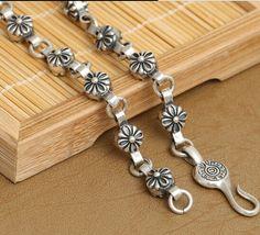Man Necklace Handcrafted 925 Silver Necklace Designer Sterling Silver Vintage Neckace Flower Necklace #Affiliate