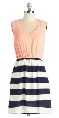 Stripes & a pop of peach!