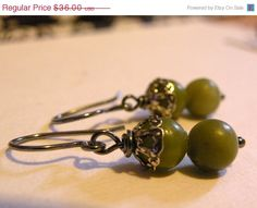HOLIDAY SALE Olive      Serpentine Natural by ScorpionMoonDesigns, $30.60