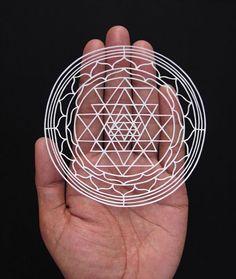 Paper cutting - Sri Yantra - Paper art - papercut by… Origami, Easy Crafts, Arts And Crafts, Paper Crafts, Ahmedabad, Paper Pot, Laser Art, Sri Yantra, Paper Artwork