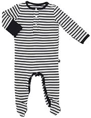 Winter warmth in this long sleeve black stripe footie. Soft, eco-friendly bamboo fabric with foldover hand covers. Check out the matching receiving blanket for a great gift! Sizes NB, 0-3M, 3-6M, 6-12M.