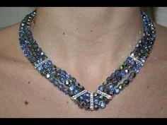 Tutorial Collana Mezzi Cristalli e Barre Strass Swarovski - PerlineBijoux.com - YouTube Rose Necklace, Flower Bracelet, Seed Bead Flowers, Seed Beads, Diy Jewelry Making, Jewelry Patterns, Beading Tutorials, Pearl Beads, Creations